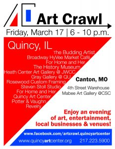 Art Crawl - sponsored by Quincy Art Center @ 4th Street Warehouse and Mabee Art Gallery @ CSC