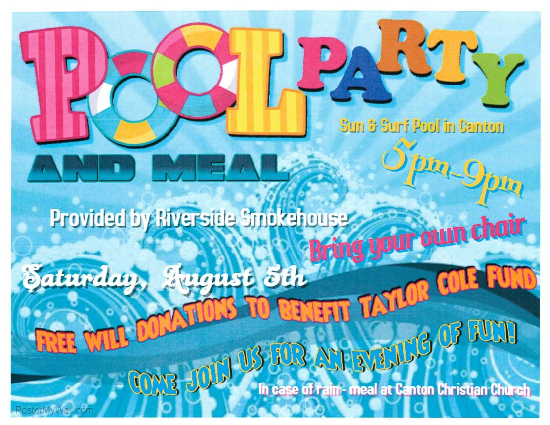 Pool Party & Meal-Taylor Cole Fundraiser @ Sun & Surf Pool | Canton | Missouri | United States