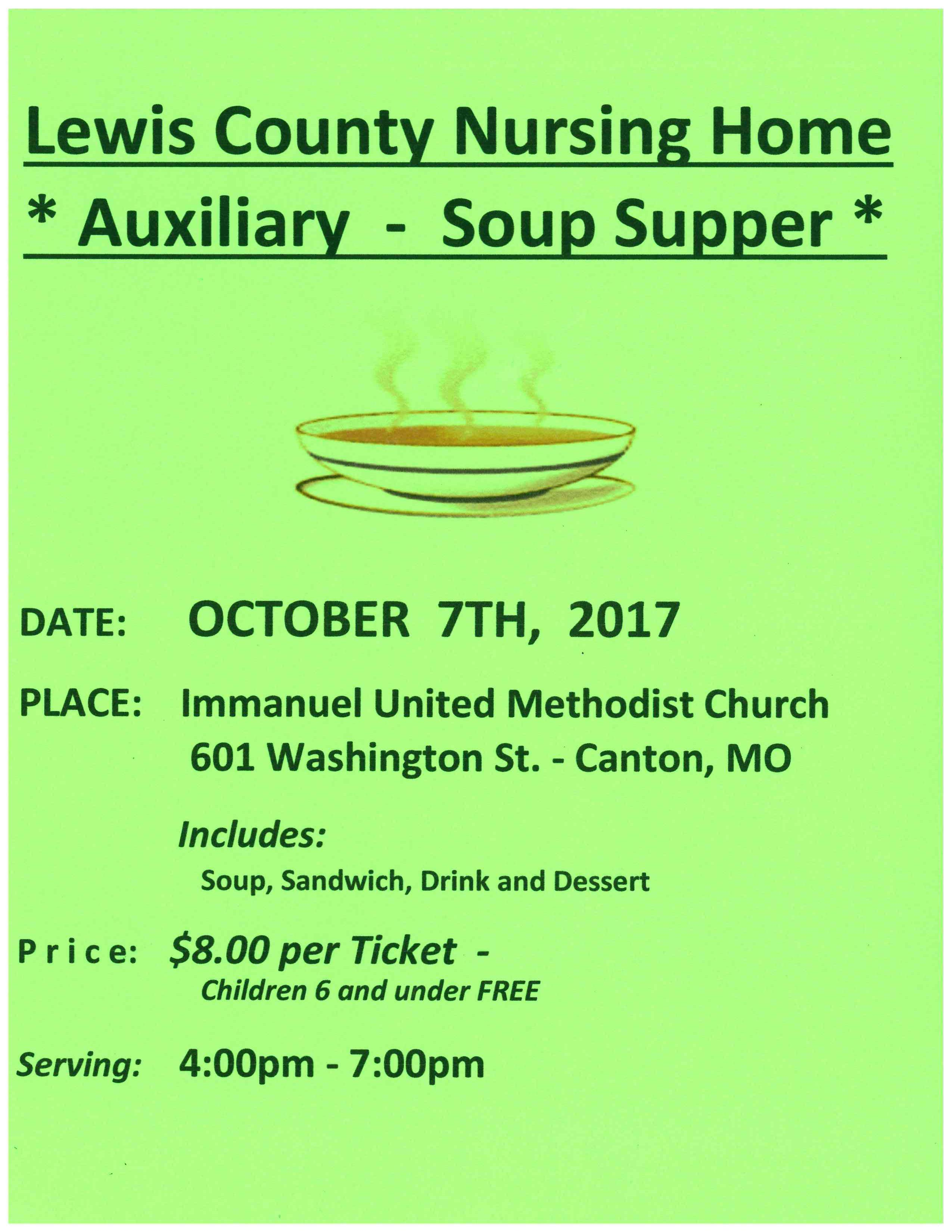 Lewis County Nursing Home Auxiliary Soup Supper @ Immanuel United Methodist Church | Canton | Missouri | United States