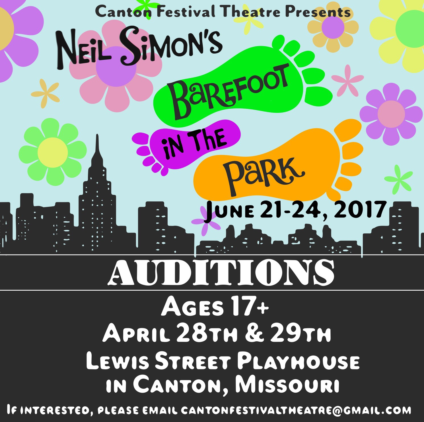 """Open Auditions for """"Barefoot in the Park"""" @ Lewis Street Playhouse 